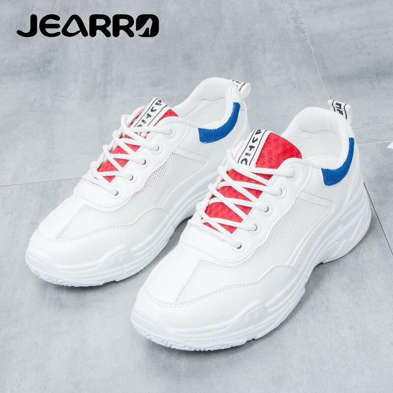 Femmes Jearro De Femme 40 36 blanc Sneakers Dames Nouvelle Taille Plate Bleu Des Casual 2018 forme Respirant D'été Chaussures qqarwx85