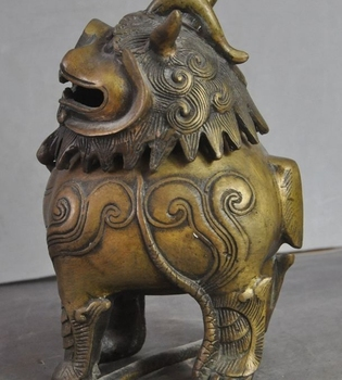 Marked Old China Fengshui Bronze Foo Dog Lion Beast Statue Incense burner Censer