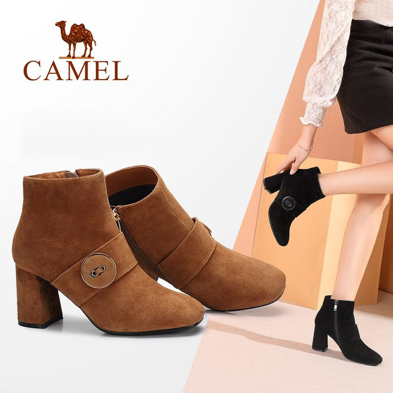 CAMEL Women Boots Shoes 2018 Winter Simple Square Head Shoes Women Thick High Heel Ankle Boots Female Plus Velvet Boots camel camel boots cowhide thick heel rivet velvet fashion pointed toe boots vintage casual thermal boots