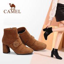 d51929f32 CAMELO Mulheres Botas Sapatos 2018 Inverno Simples Sapatos Cabeça Quadrada  Mulheres Grosso Além de Veludo Botas