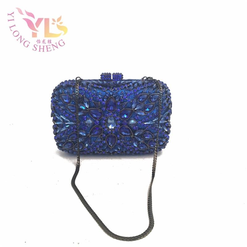Blue Clutch Diamonds Evening Bag Designer Crystal Handbags Evening High Quality Women Clutch Chain Evening Handbags YLS-G48 women custom name crystal big diamond clutch crossbody chain bag women handbags evening clutch bag 1001bg