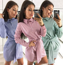 Fashion Sexy Women Mini Dress 2018 Autumn Long Sleeve Striped Shirt Dress Ladies Casual Party Dresses Female Clothes(China)