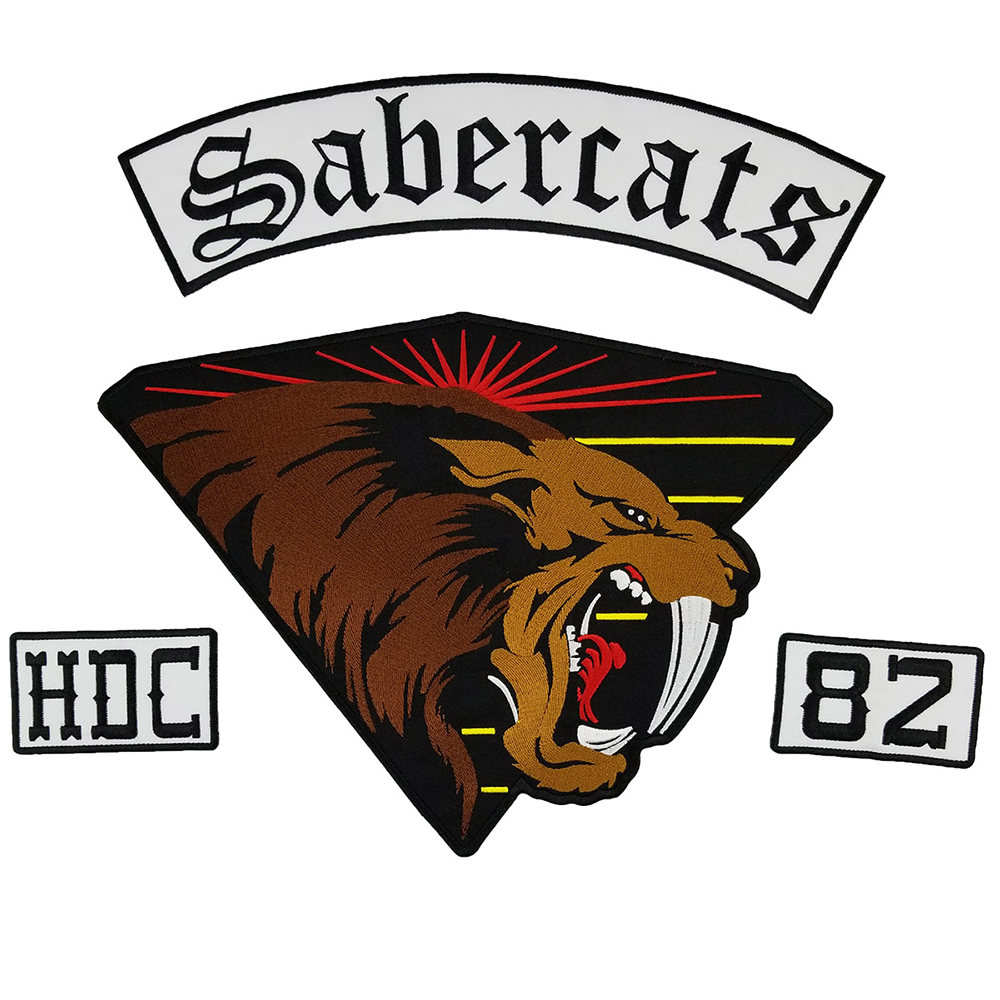 Sabercats 82 Vest Back Patch Embroidery Iron On Patches For Clothing Eco Friendly Handmade Embroidered Patch Sticker For Clothes