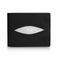 Fashion Black White Pearl Fish Eye T shape Designer Unisex Style Male Short Purse Wallet Men's Trifold Card Case Wallet For Man