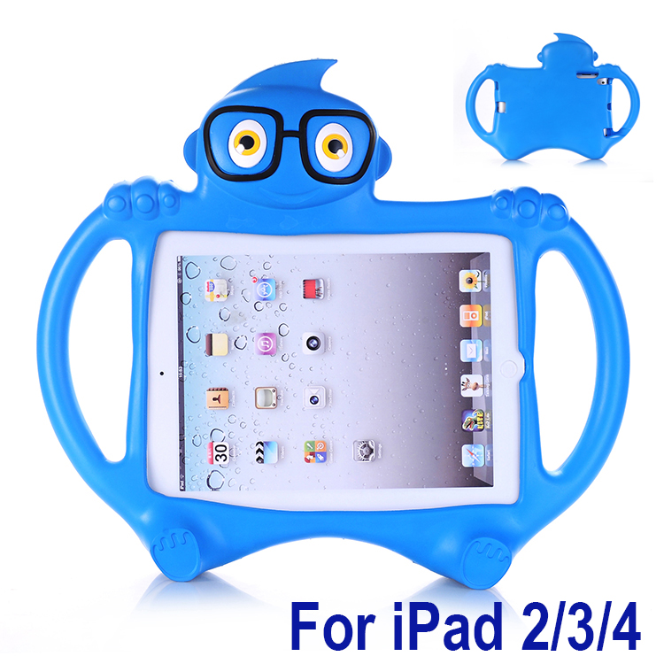EVA Foam Shockproof Washable Stand Case For Ipad 2/3/4 Cover Cartoon Kids Children Lovely Tablet Protective Skin Tempered Glass
