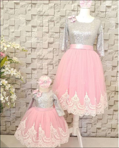 Pink lace and tulle flower girl dress baby 1 year birthday outfit long sleeves with bling silver sequins for tea party prom lilac tulle open back flower girl dresses with white lace and bow silver sequins kid tutu dress baby birthday party prom gown