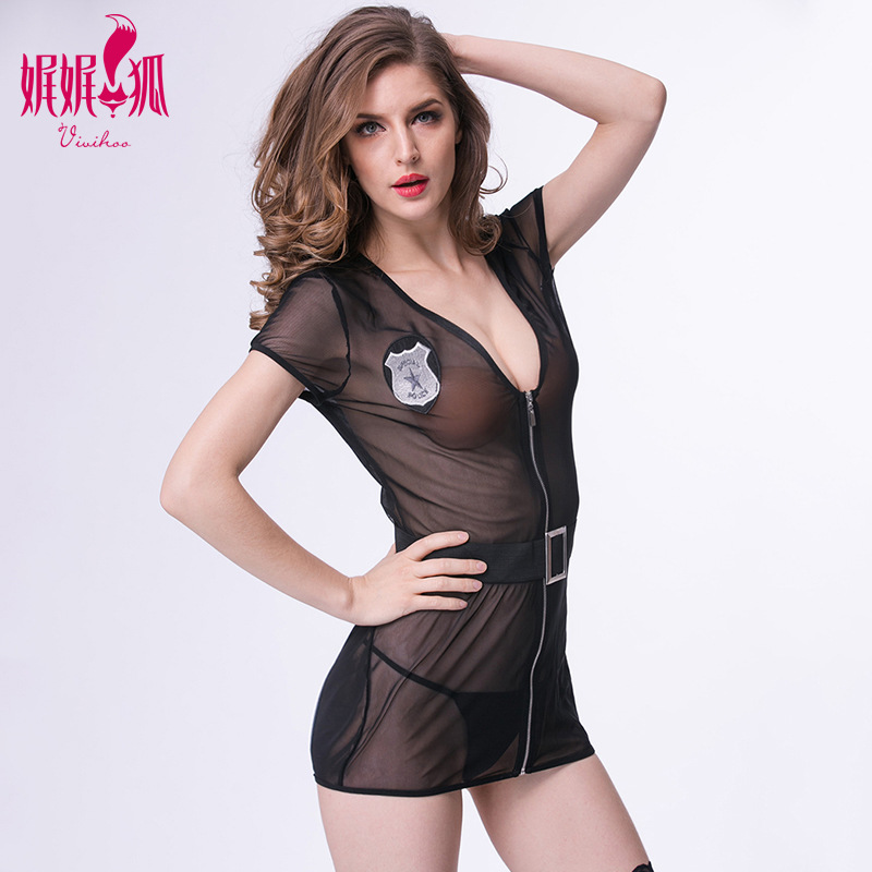 2018 European and American Sex Appeal Underwear Net Gauze Perspective Appeal Pajamas Slim Zipper Uniform Temptation Skirt Son