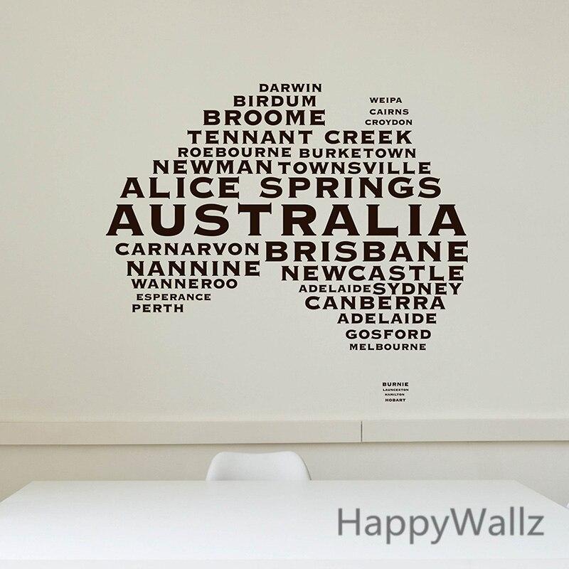 Australian Map Wall Sticker Map Of Australia Wall Decal 3D Modern Map Wallpaper Decorating Modern Office