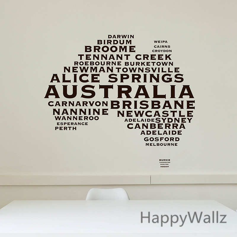 Australian map wall sticker map of australia wall decal 3d modern map wallpaper decorating modern office decor m36 in wall stickers from home garden on