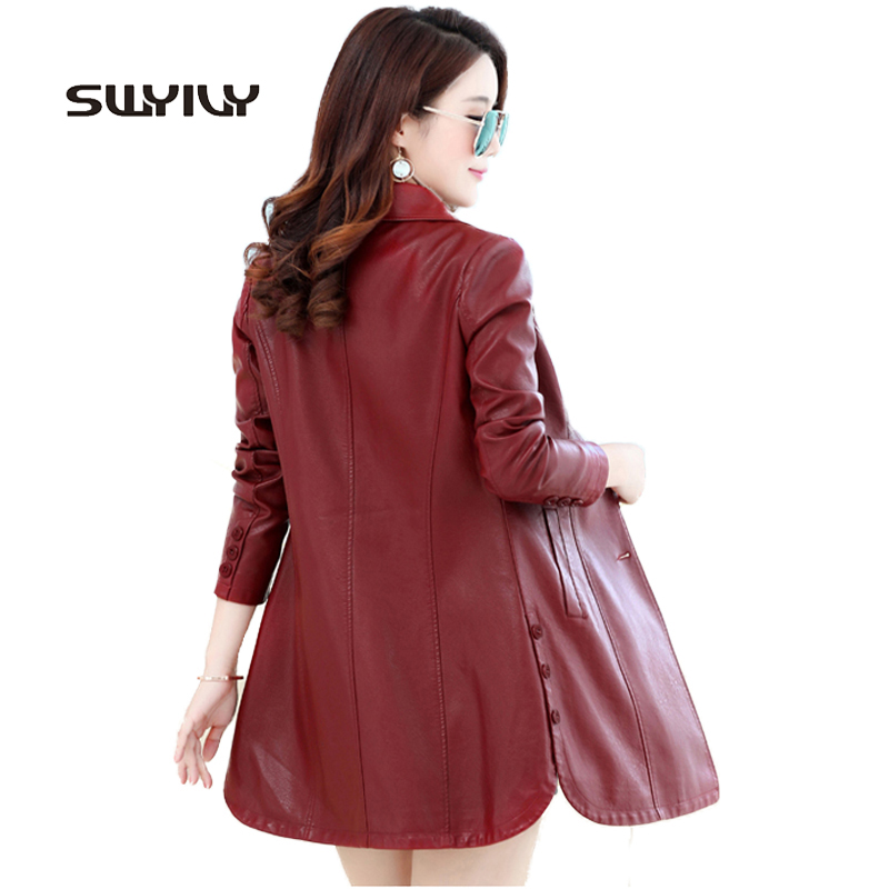 Big Size 4XL Womens Slim Long   Leather   Jacket Button Decrated Elegant Outcoat Fashion 2017 High Waist Long Sleeve Female PU Coat