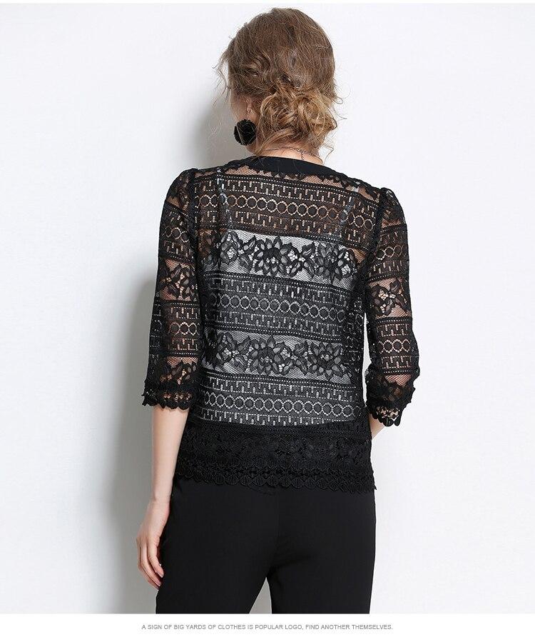 bcdfa286e551e US $11.9 18% OFF|Aliexpress.com : Buy Plus Size 5XL Women Lace blouse shirt  2018 fashion white Cardigan shirt Summer tops Sexy Hollow lace women's ...