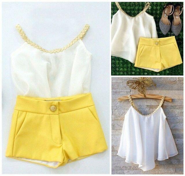 Fashion Baby Kids Clothes Girls Outfits Chiffon Sleeveless Top Shirt+ Yellow Pants Shorts Summer Girls  2pcs Outfits Set
