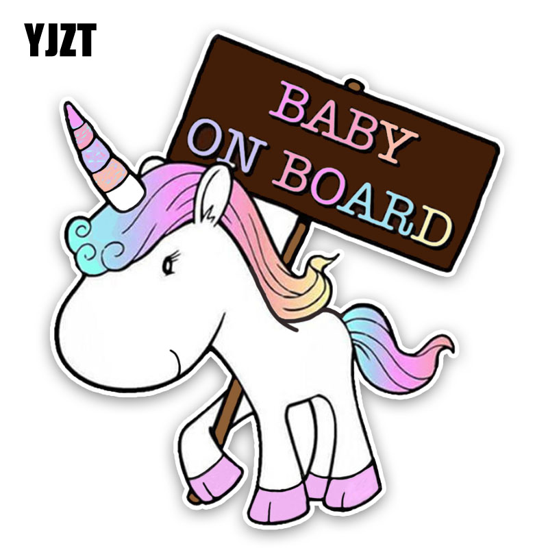 YJZT 15.1*16.7CM Lovely Small Animals Cartoon BABY ON BOARD Colored Graphic Car Sticker Decoration C1-5586