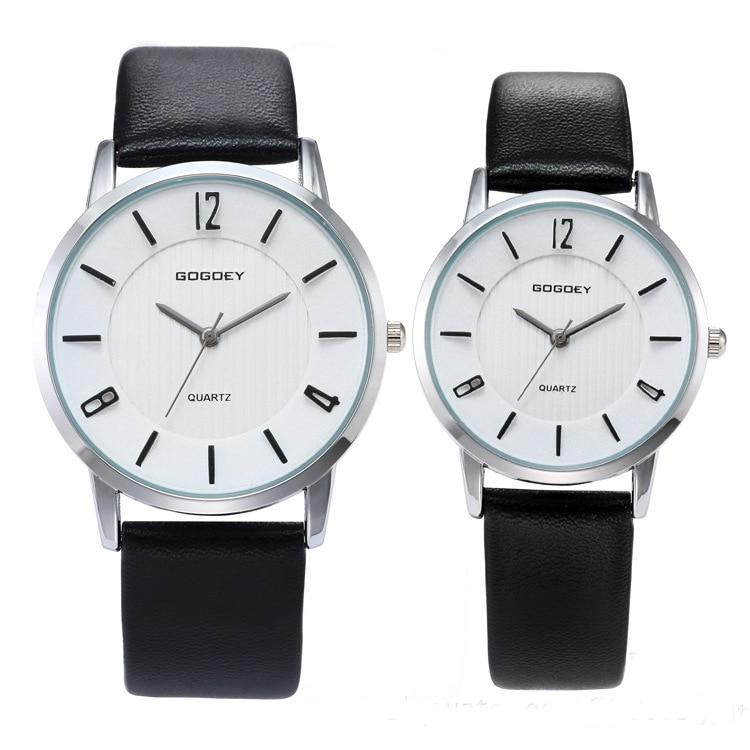 2 PCS High Quality Gogoey Brand Pair Leather Watches Men Women Lover Couple Dress Quartz Wristwatches Go8527
