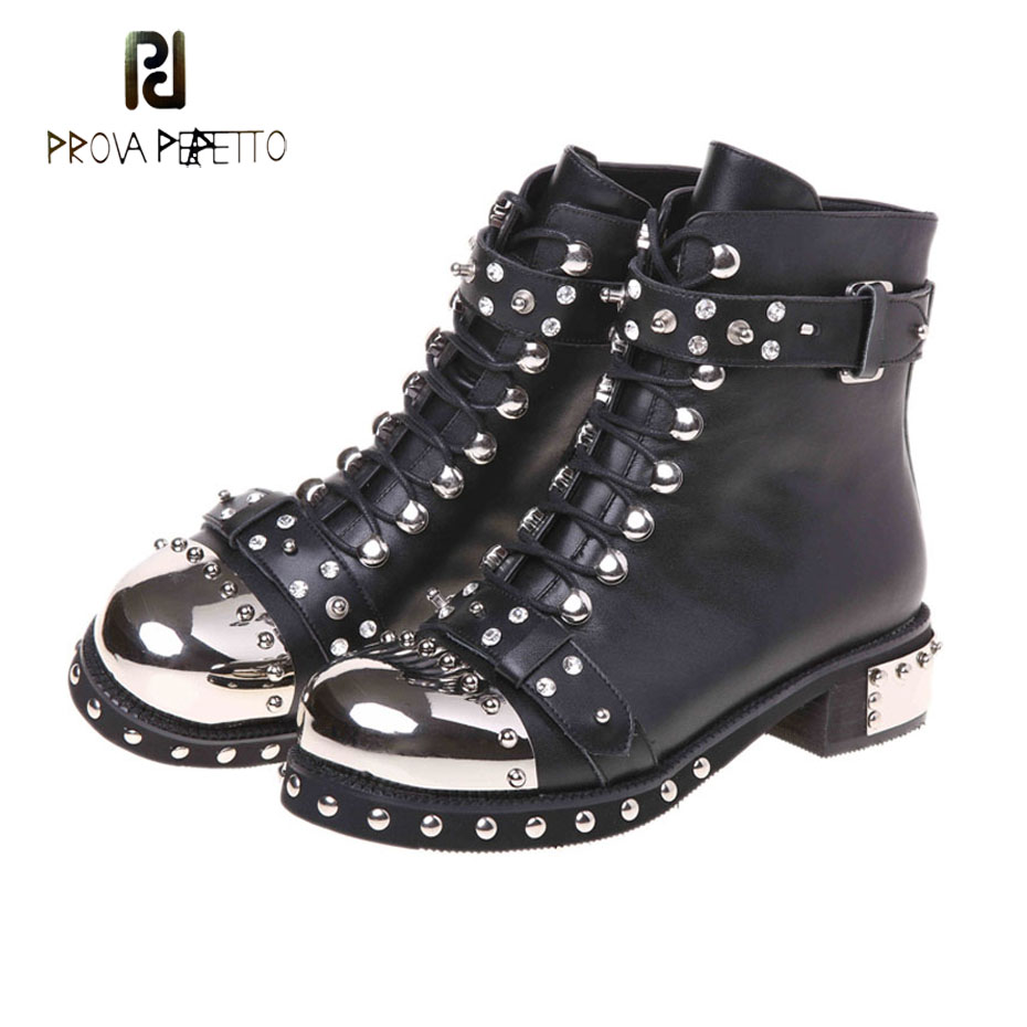 Prova Perfetto fashion rivet stud metal round toe punk style short boots females lace up belt buckle motorcycle boots women prova perfetto 2018 newest genuine leather short boots women rivet belt strap platform flats knigh boots punk style boots female