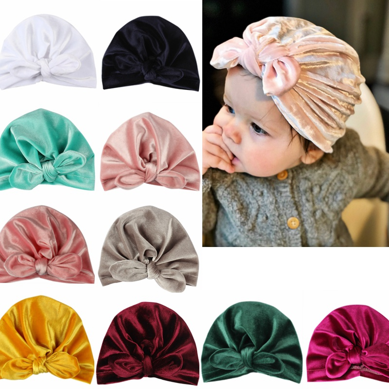 10 Colors Baby Headbands Rubber Ear Velvet Headbands Toddler Winter Warm Baby Turban Beanie Hat Elastic Head Band Headdress