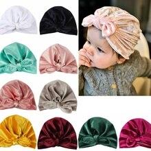 10 цветов, детские повязки на голову с резиновыми ушками, бархатные повязки на голову для малышей, зимняя теплая детская чалма, шапочка, эластичная повязка на голову, головной убор