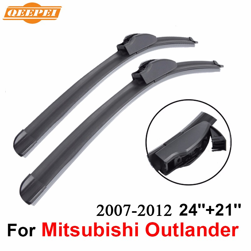 QEEPEI Front and Rear Wiper Blade no Arm For Mitsubishi Outlander 2007 2012 High quality Natural Rubber windscreen 24 39 39 21 39 39 in Windscreen Wipers from Automobiles amp Motorcycles