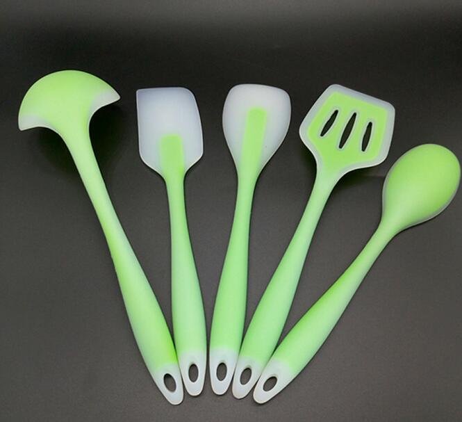FDA approved 5pcs Non Stick Silicone cooking tools utensils set Heat Resistant silicon kitchen utensils Cooking