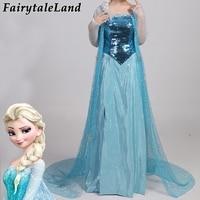 Snow Queen Elsa Cosplay Costume Fancy Sequins Dress Adult Girls Princess Elsa Dress Cloak Carnival Halloween Costumes For Women