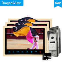 Dragonsview  10 inch 960P Wired Video Door Phone Doorbell Video Intercom Kit for a Private House Home security System 3v2 Record