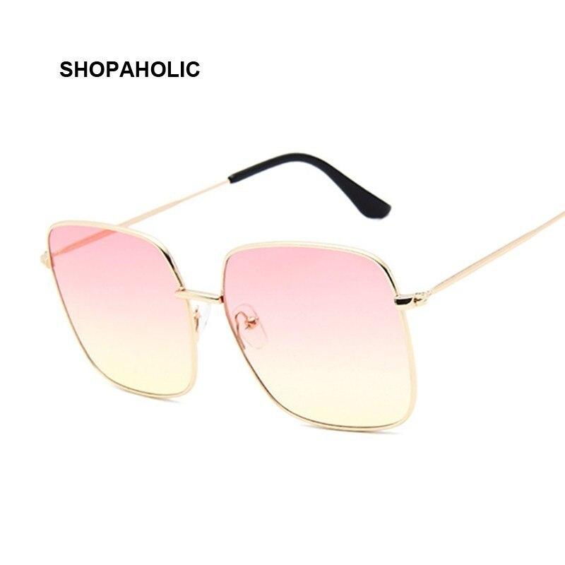 Retro Big Square Sunglasses Women Brand Designer Pink Sun Glasses For Ladies Alloy Quality Sunglasses Female Oculus De Sol