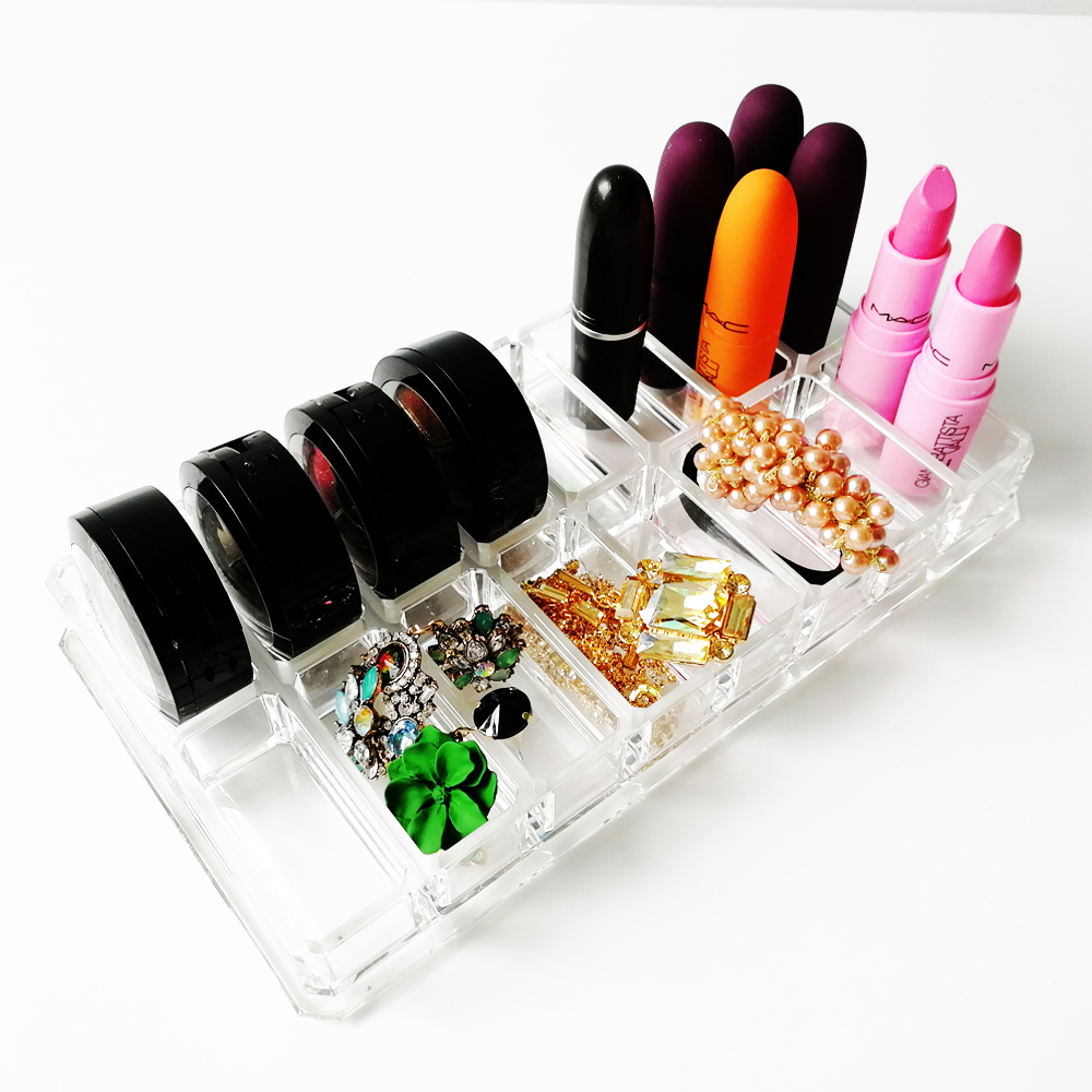 Transparent Acrylic Makeup Organizer Lipsticks Makeup Brush Holder Power Box Beauty Jewelry Organizer Display Storage Case in Storage Boxes Bins from Home Garden