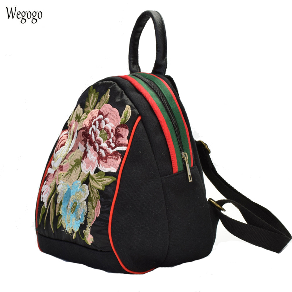 New National Women Backpack Floral Embroidered Canvas Shoulder Bag Girls Cute Mini Travel Beach School Rucksack Mochila backpack top quality hot sales canvas mini floral women girls kids cheap coin pouch compact elegant mochila 17apr25