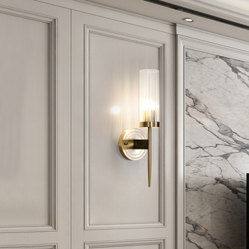 """16"""" High Crystal Brass Wall Sconce 2 Lights Copper Light Bathroom Euro LED Reading Wall Lamp led wall light sconce wall lights"""