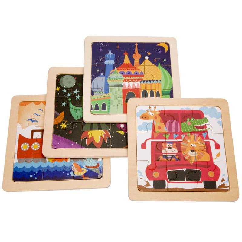 Mini 15*15cm Wooden 3D Puzzle Jigsaw For Children Kids