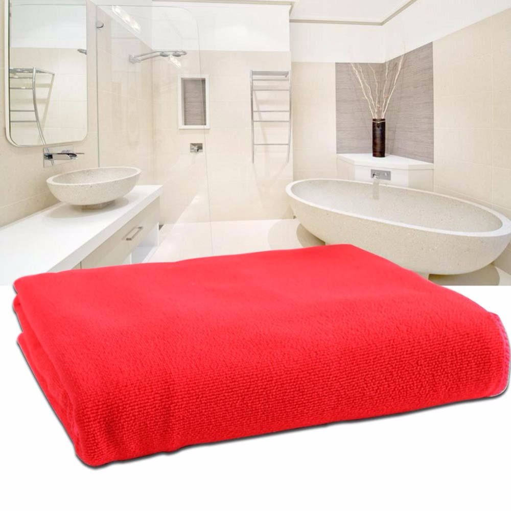Red Microfiber Bath Towels: Absorbent Microfiber Dry Bath Beach Towel Wash Cloth