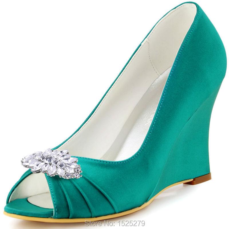 ФОТО EP2009AW Teal Champagne Party Women Bride Bridal Party Pumps Peep Toe High Heel Satin Diamond Flower Lady Wedding Dress Shoes