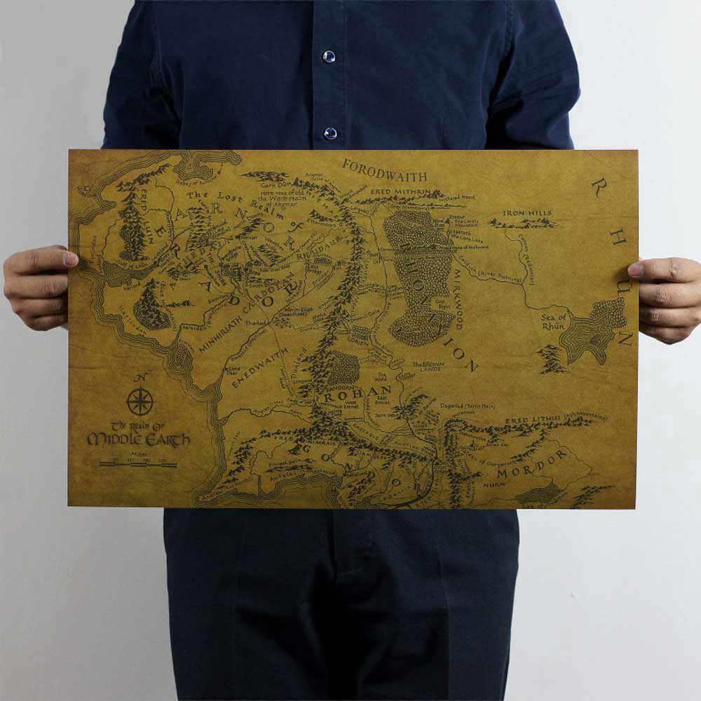 הארץ התיכונה מפה על שר טבעות בציר סרט נייר פוסטר בית קישוט קיר ציור רטרו לקירות