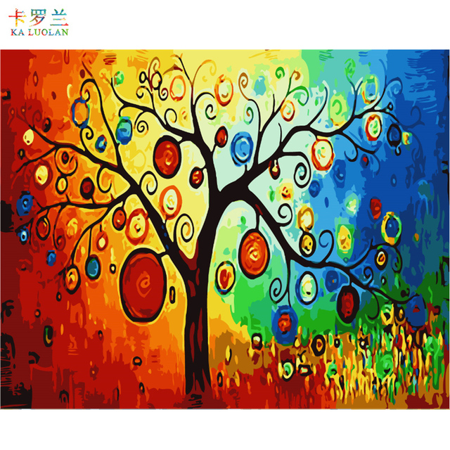 Frameless Picture On Wall Acrylic Painting By Numbers Drawing Unique Coloring Luck Tree G345