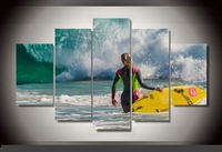 Modern Indoor Decor Original R6 Woman surfing waves print poster canvas in 5 pieces