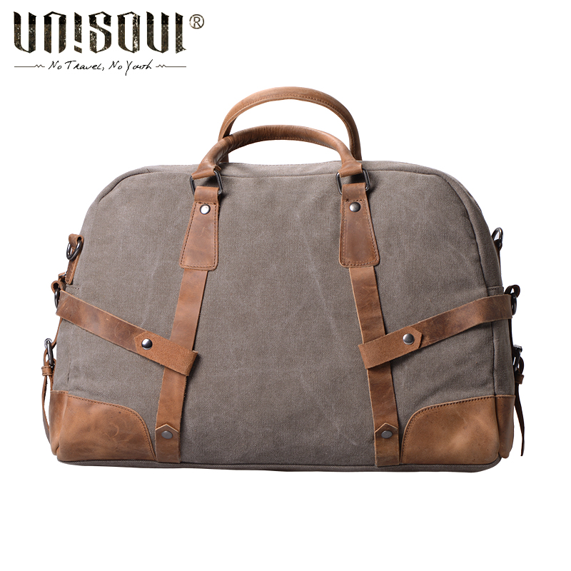 ФОТО UNISOUL Travel Totes of Men Large Capacity travel Bags Vintage Cross body Bag European &American style men's canvas satchel bags