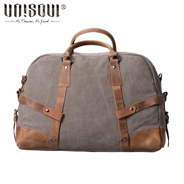 Unisoul Totes viagem dos homens de grande capacidade sacos de viagem saco corpo cruz do Vintage europeu e americano estilo homens de sacos mochila lona