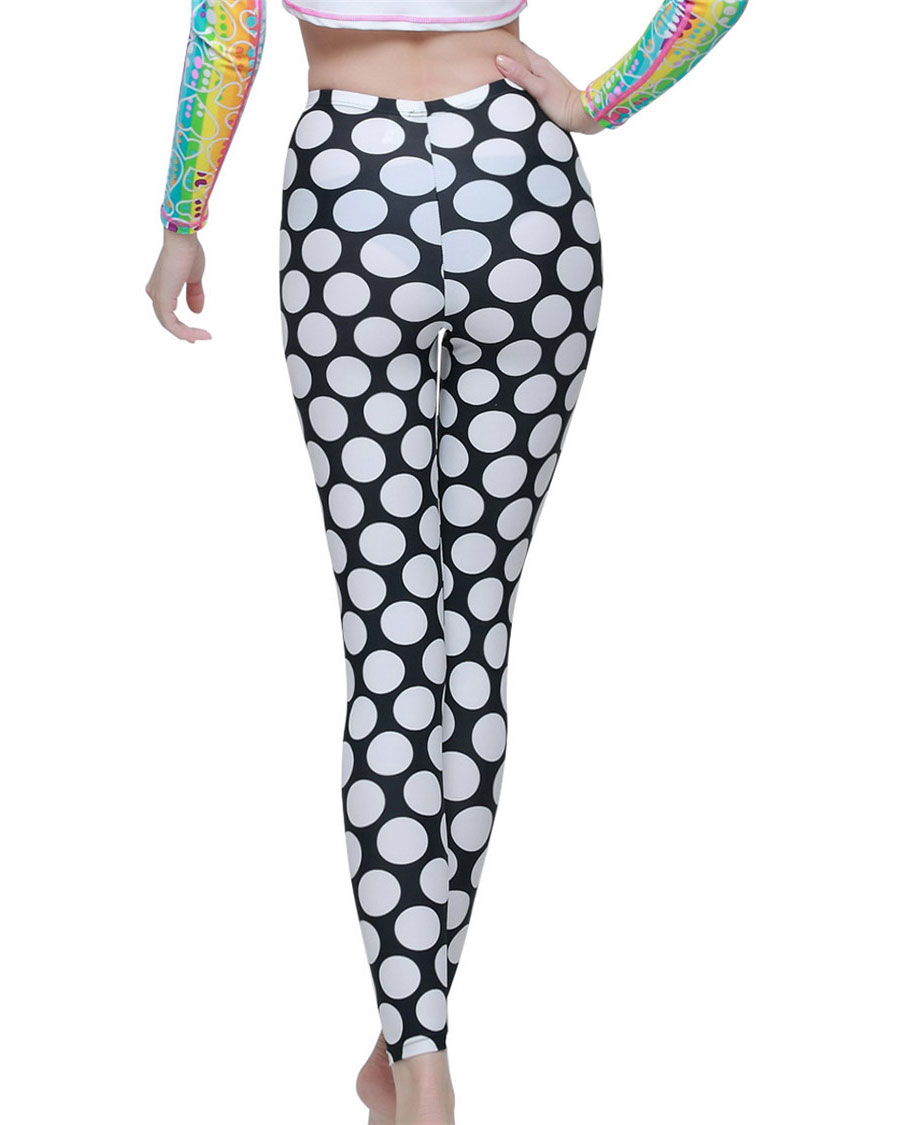 White Dot Print Black Elastic Waist Skinny Pants Leggings Womens Running Tights Woman Sports Pants