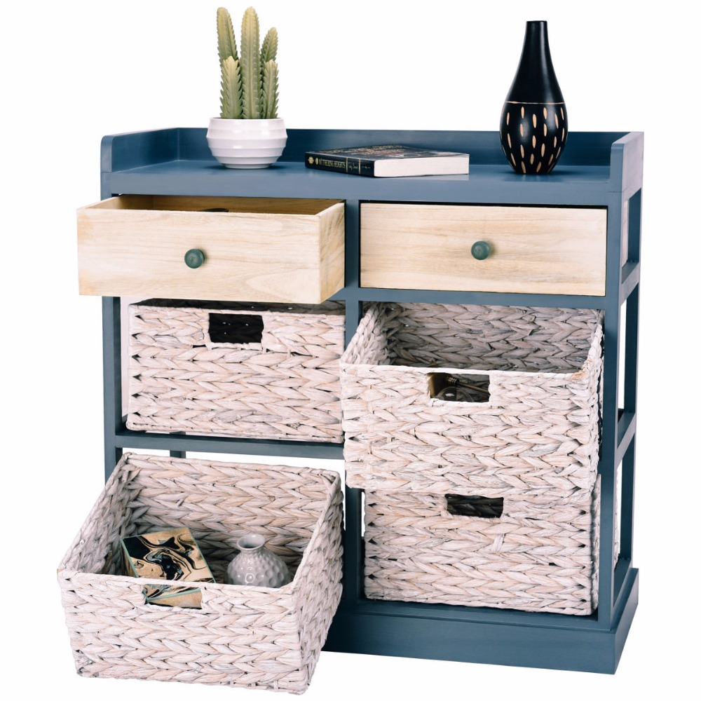 Giantex Bedside Table Chest Cabinet Storage Organizer w/ 2 Wood Drawer and 4 Baskets New Bedroom Furniture HW57419