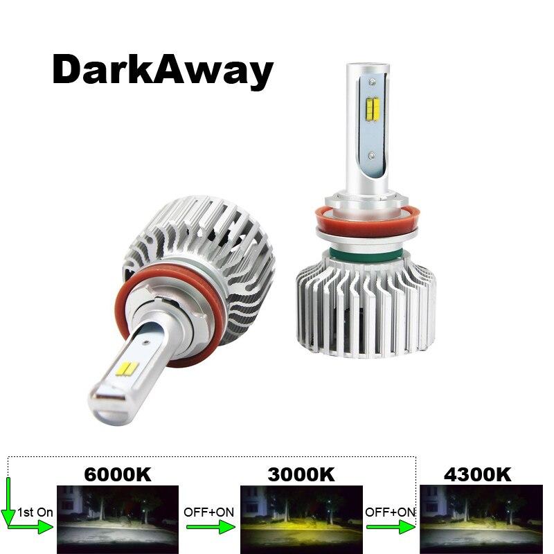 DarkAway 3 Couleurs dans 1 Voiture LED Phares H4 H7 H11 H8 H9 HB3 HB4 H27 H1 H3 Auto Ampoule 60 W 6000lm 12 V 6000 K 3000 K 4300 K Canbus