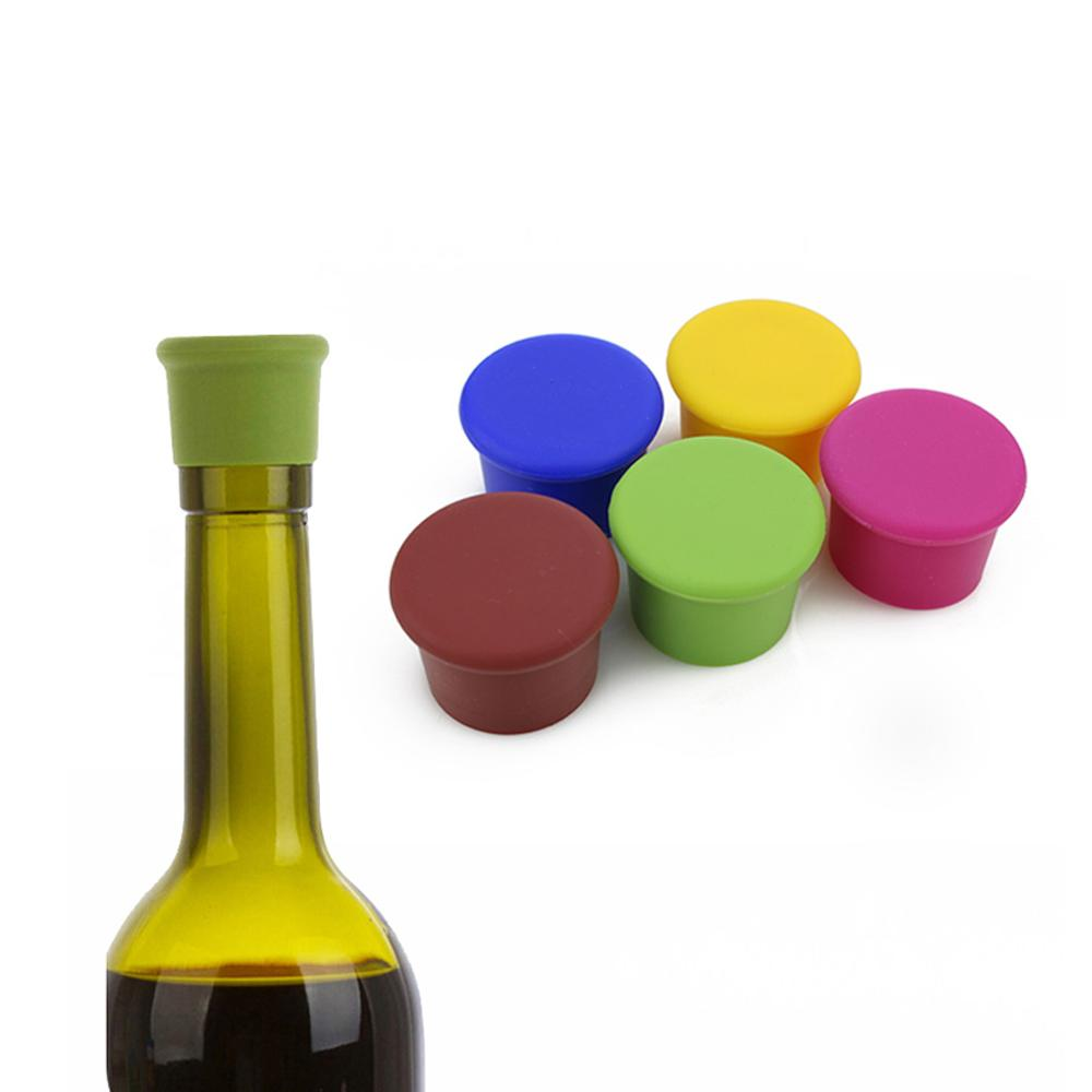 Beer Wine Bottle Stopper Home Bar Champagne Bottles Stopper Cover Bottle Silicone Cap Kitchen Gadgets Random Color Hot Sale