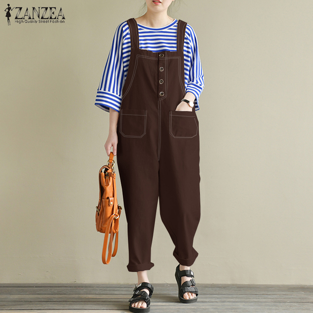d2dc429cb05 2018 ZANZEA Women Casual Strappy Solid Loose Cotton Linen Rompers  Sleeveless Party Harem Pants Jumpsuits Overalls Work Dungarees