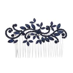 KMVEXO Blue Crystal Leaves Wedding Hair Comb Clip Rhinestone Headdress Headpieces For Bridesmaid Bride Party Jewelry 2019 New