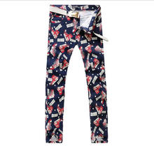 2017 New Letter Print Man Jeans Red Shoes Print Casual Trousers