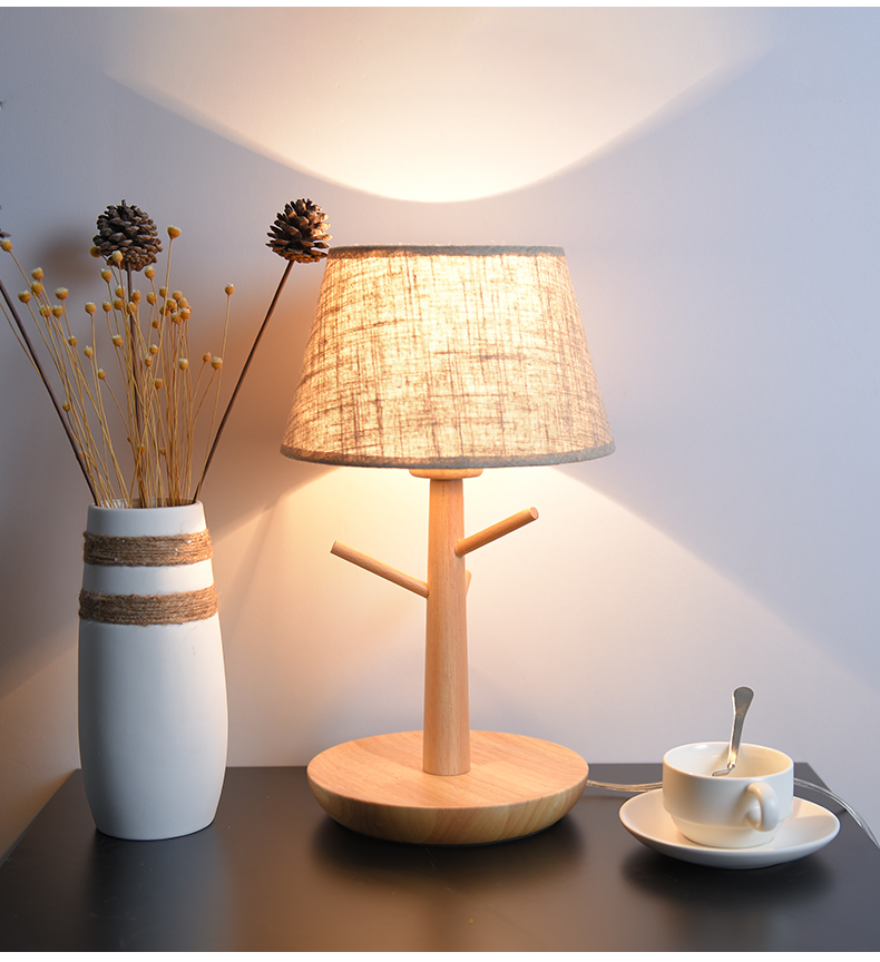 Здесь продается  Modern Nordic Elegant Wood Fabric Led E27 Dimmerable Table Lamp For Bedroom Bedside Living Room Night Light Deco  Свет и освещение