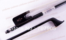 Eine Cello Bow Black Carbon Fiber Runde Stick Ebenholz Frosch Blumen intarsien 4/4