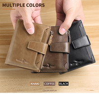WILLIAMPOLO new fashion mens wallet leather genuine luxury brand small wallet zipper short men's leather wallet with coin pocket