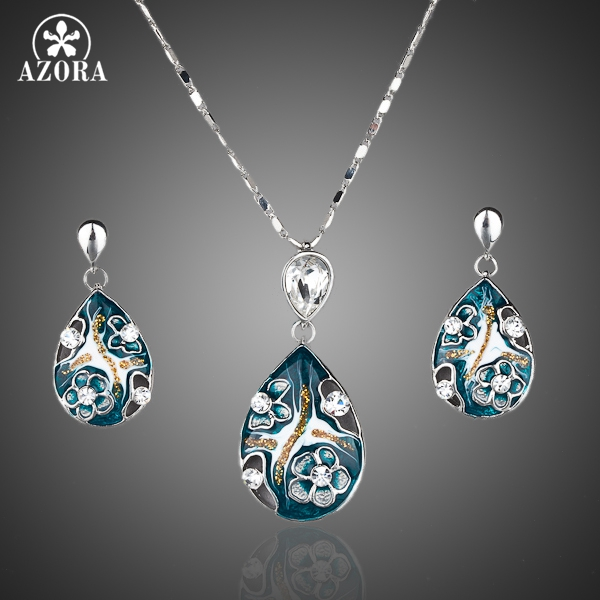 AZORA White Gold Color Lady's Elegant Transparent Crystal Pendant Earring and Pendant Necklace Jewelry Set TG0001
