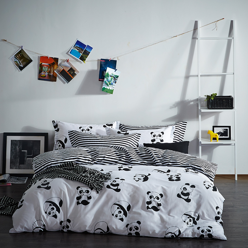 100% Cotton Black White Color Plaid/Stripe/Panda Bedding set King Queen Twin size Bed/Fit sheet set Duvet Cover Pillow shams