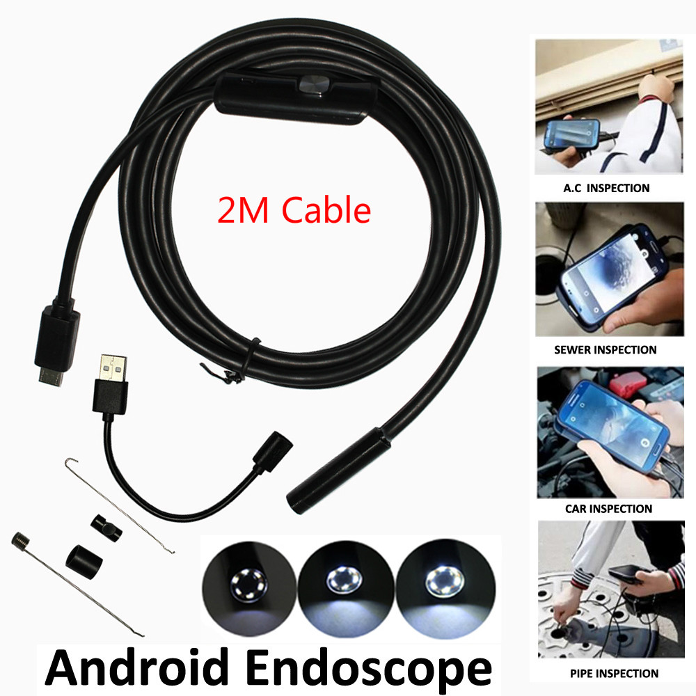5.5mm Len 6 Leds IP67 Waterproof OTG UVC Snake Borescope Usb Endoscope Android Camera 2M Cable 2IN1 Not IP Camera len e82ev series e82zbc